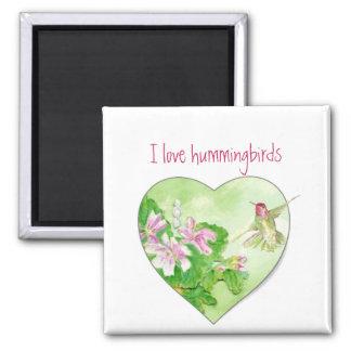 Amo los colibríes, colección del pájaro imán cuadrado