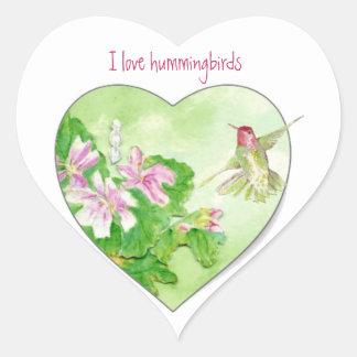 Amo los colibríes, colección del pájaro pegatina en forma de corazón