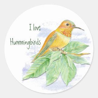 Amo los colibríes, pájaro original de la acuarela pegatina redonda