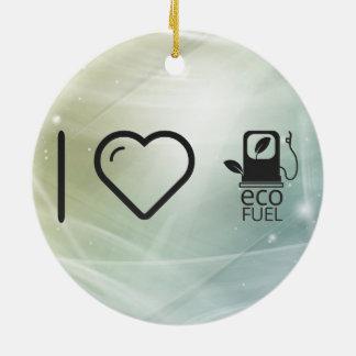 Amo los combustibles de Eco Adorno Redondo De Cerámica
