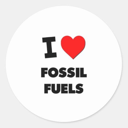 Amo los combustibles fósiles pegatinas redondas