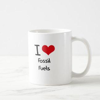 Amo los combustibles fósiles taza básica blanca