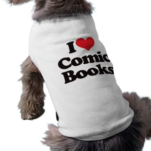 Amo los cómic playera sin mangas para perro