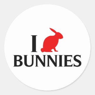 Amo los conejitos, conejos pegatina redonda