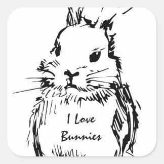 Amo los conejitos (el personalizable) colcomanias cuadradass
