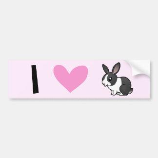 Amo los conejos (el pelo liso del oído uppy) etiqueta de parachoque