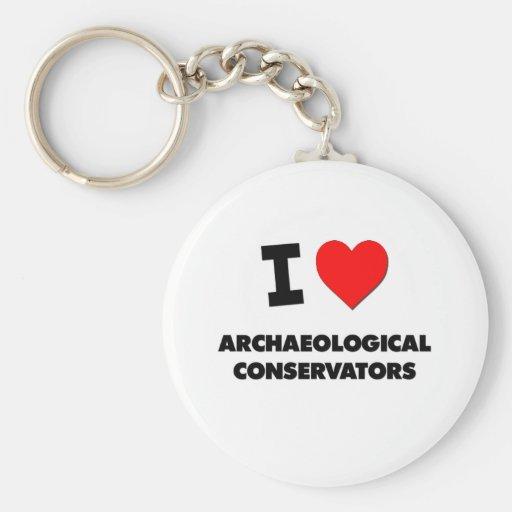 Amo los conservadores arqueológicos llaveros personalizados