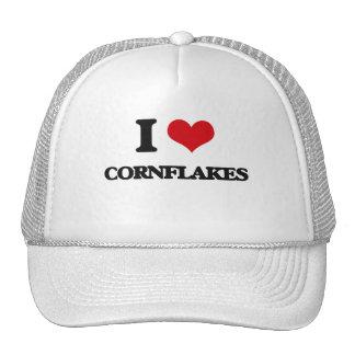 Amo los copos de maíz gorros bordados