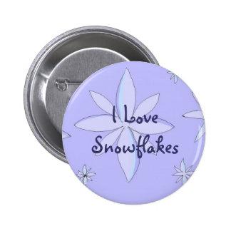 Amo los copos de nieve pin redondo de 2 pulgadas
