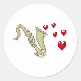 Amo los corazones de Saxaphone Pegatina Redonda