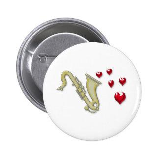 Amo los corazones de Saxaphone Pin