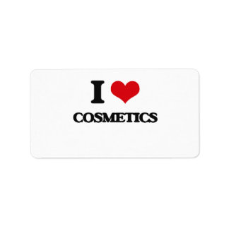 Amo los cosméticos etiqueta de dirección