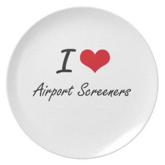Amo los cribadores del aeropuerto plato de cena