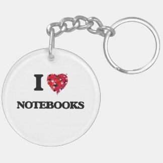 Amo los cuadernos llavero redondo acrílico a doble cara
