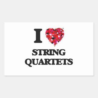 Amo los cuartetos de cuerda pegatina rectangular