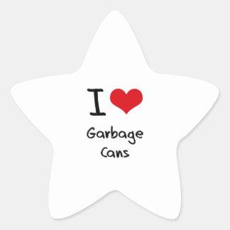 Amo los cubos de la basura pegatina en forma de estrella