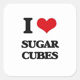 Amo los cubos del azúcar pegatina cuadrada