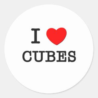 Amo los cubos pegatina redonda