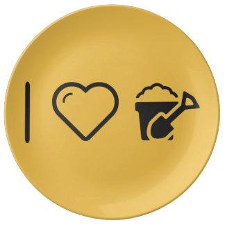 Amo los cubos plato de cerámica