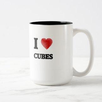 Amo los cubos taza de dos tonos