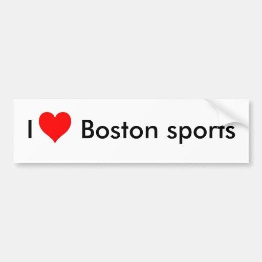 Amo los deportes de Boston Etiqueta De Parachoque