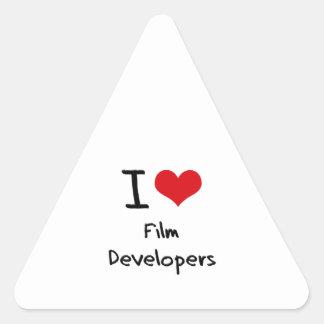 Amo los desarrolladores de la película pegatina triangulo personalizadas