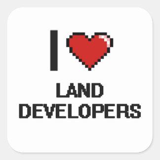 Amo los desarrolladores de la tierra pegatina cuadrada