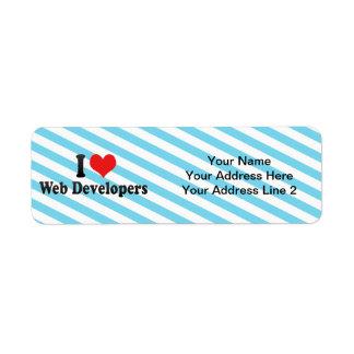 Amo los desarrolladores de Web Etiqueta De Remite