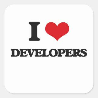Amo los desarrolladores pegatina cuadrada