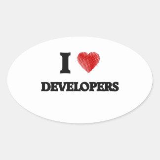 Amo los desarrolladores pegatina ovalada