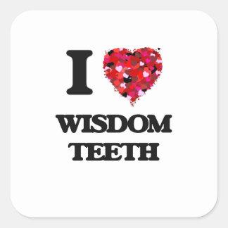 Amo los dientes de sabiduría pegatina cuadrada