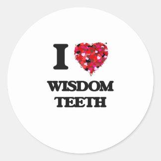 Amo los dientes de sabiduría pegatina redonda