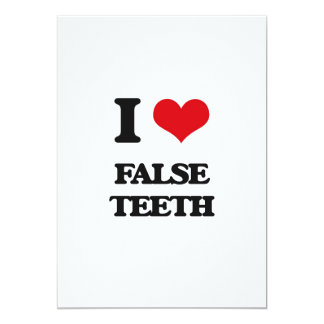 Amo los dientes falsos invitación 12,7 x 17,8 cm