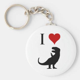 Amo los dinosaurios - T-Rex Llavero Redondo Tipo Pin