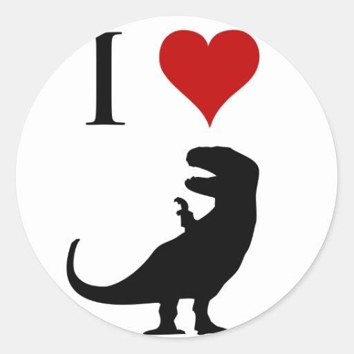 Amo los dinosaurios - T-Rex Pegatina Redonda