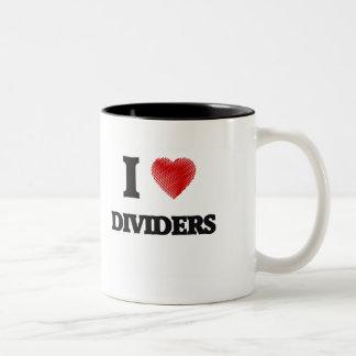 Amo los divisores taza de café de dos colores