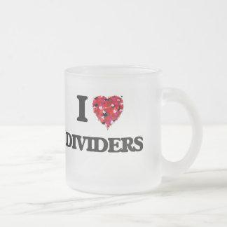 Amo los divisores taza de cristal