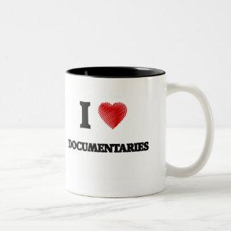 Amo los documentales taza de café de dos colores