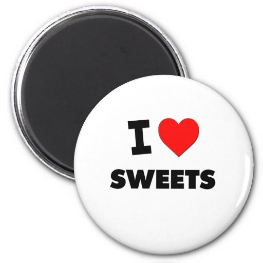 Amo los dulces (la comida) imán redondo 5 cm