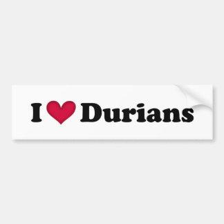 Amo los durians etiqueta de parachoque