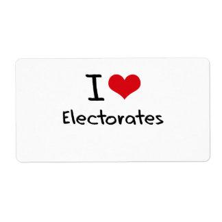 Amo los electorados etiquetas de envío