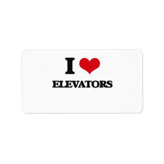 Amo los ELEVADORES Etiqueta De Dirección