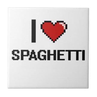 Amo los espaguetis azulejo cuadrado pequeño