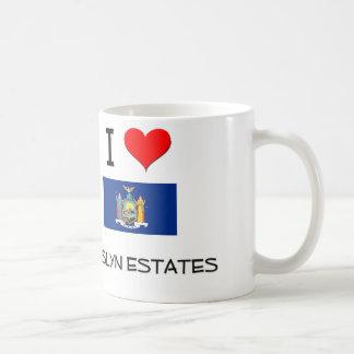 Amo los estados Nueva York de Roslyn Taza Básica Blanca
