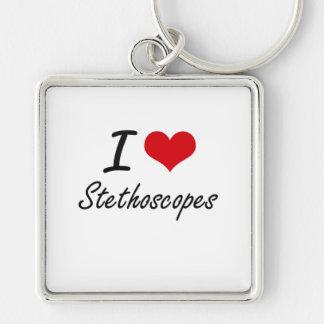 Amo los estetoscopios llavero cuadrado plateado