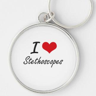 Amo los estetoscopios llavero redondo plateado