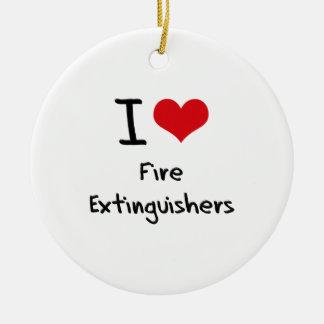 Amo los extintores adorno redondo de cerámica