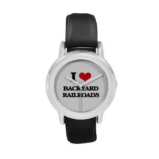 Amo los ferrocarriles del patio trasero reloj de mano