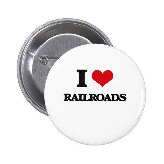 Amo los ferrocarriles pin redondo de 2 pulgadas