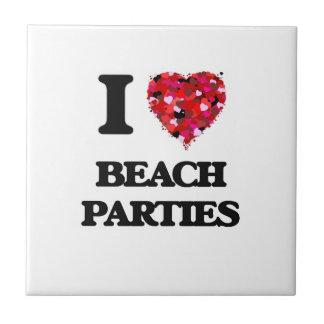 Amo los fiestas de la playa azulejo cuadrado pequeño